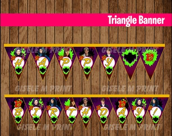 Descendants Banner, Printable Descendants Triangle Banner, Descendants party Banner instant download