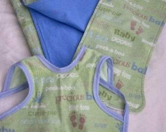 Burp Cloth, Baby Apron, and Blanket Set