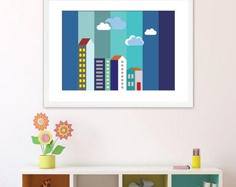 poster/city/boy/girl/baby/children room/printable/digital download/original/uniqe/ digital/Art #pastel colors-blue-navy-yellow
