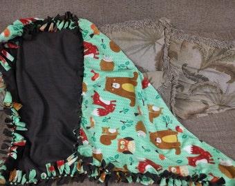Woodland Animals Fleece Tie Blanket