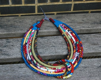 Multi layered African kente necklaces