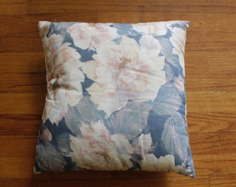 Soft Pink and Blue Pastel Floral Pillow/ watercolor/ painterly