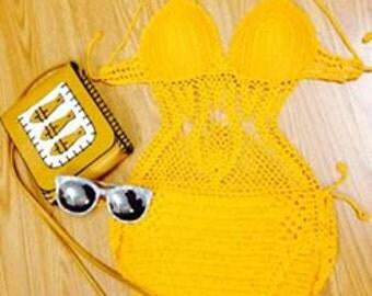 yellow crocheted bikini