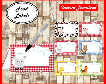 Farm Animals Food labels, printable Farm party food tent cards , Farm food tent cards