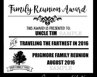 Digital Family Reunion Award Pdf Files EDITABLE Instant Download Certificate Includes 2 Sizes
