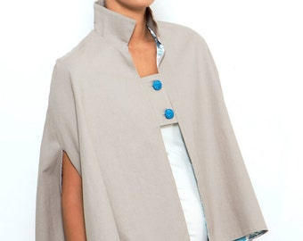 Gray Capelet / Cape with Arm Holes