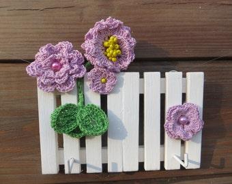 Crochet Flowers Key Holder Crochet Jewelry Holder Colorful Woman Key Holder Spring Wood Key Holder  Girl Organizer Gift for Girlfriend