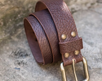 Handmade 40mm solid brass buckle Brown belt