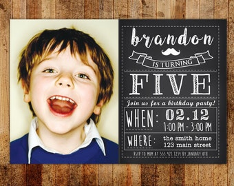 Chalkboard Vintage Boy's Birthday Party Invitation with Photo