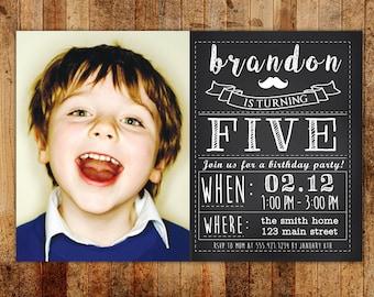 Chalkboard Vintage Boy's Birthday Party Invitation with Photo