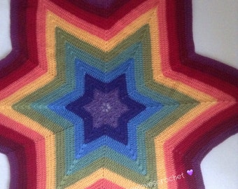 SOLD - can be made to order - Rainbow six pointed star baby blanket