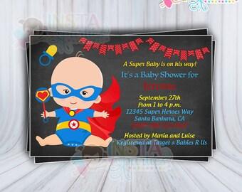 SUPERHERO Baby shower Invitations / Boy Superheroes Invitation baby super hero superman digital printable file 4x6 printable download