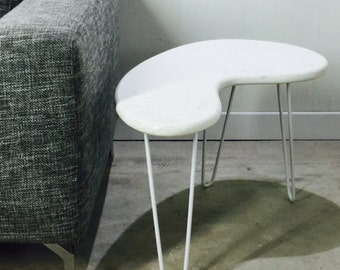 Marbled white quartz legs pinhead Mid Century table style Hairpin legacy by workshop Bussière shop +