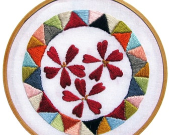 Geometric Floral Printable Wall Art Print Hoop Art Embroidery Art Instant Download Home Decor