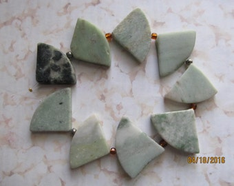 "Natural Green Marble Triangular Beads 8"" Strand"