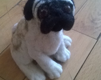 "Needle Felted Sculpture Animal Pug-""Polly"",needle felted dog"