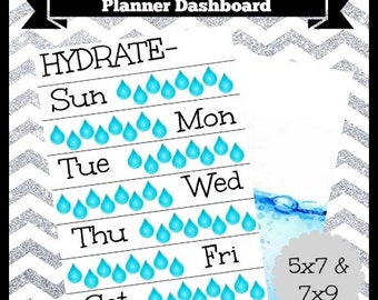 Digital Printable Hydrate Water Tracker Reminder Planner Dashboard 5x7 & 7x9 Life Happy Travel