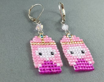 Princess Bubblegum Earrings - Pixel Earrings Pixel Jewelry Adventure Time Earrings Seed Bead Earrings Nerdy Earrings Nerdy Gift