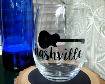 Stemless Clear Wine Glass- Nashville Guitar