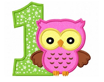owl 1 birthday embroidery design