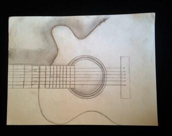 Gutair pencil Drawing