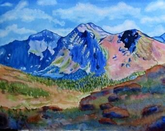 Blue mountain watercolor original landscape painting blue orange rose rust green 11x15