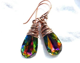 Green Vitrail Swarovski crystal teardrop and copper wire wrapped earrings.
