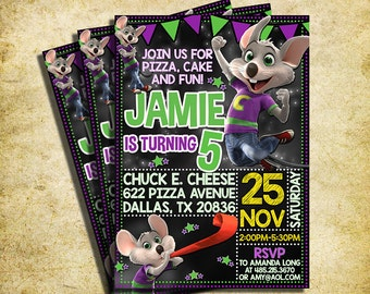 Chuck E Cheese Invitation - Chuck E Cheese Chalkboard Birthday Party Invite - Printable And Digital File