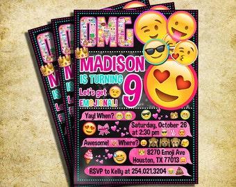 Emoji Invitation - Emoji Icons Chalkboard Birthday Party Invite With Text Fomat - Printable And Digital File