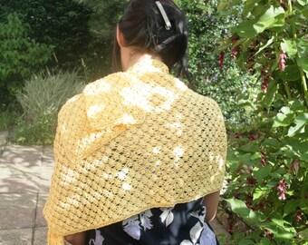 """Evening Shawl, Cotton lace, Beaded pattern - """"Sunshine Yellow"""""""