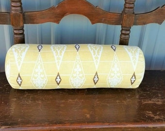 Bolster cover 100% linen yellow bolster 6x16 7x20 soft yellow, brown off white Ethnic diamond pattern Zippered bolster cover, select size