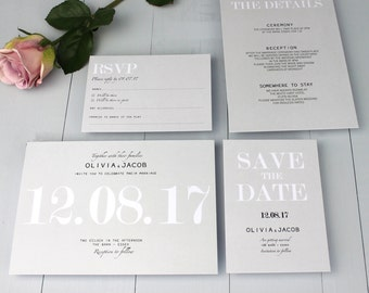 Classic Wedding Invitation Suite, Modern Minimalist Wedding Invite, Grey Elegant Invitation Suite