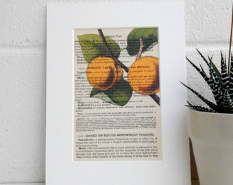 Mrs Beetons Antique Cookery Book Print - Botanical Image Art Print - Kitchen Art Print - Housewarming Gift