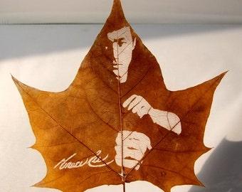 Portraits Leaf Carving For Bruce Lee