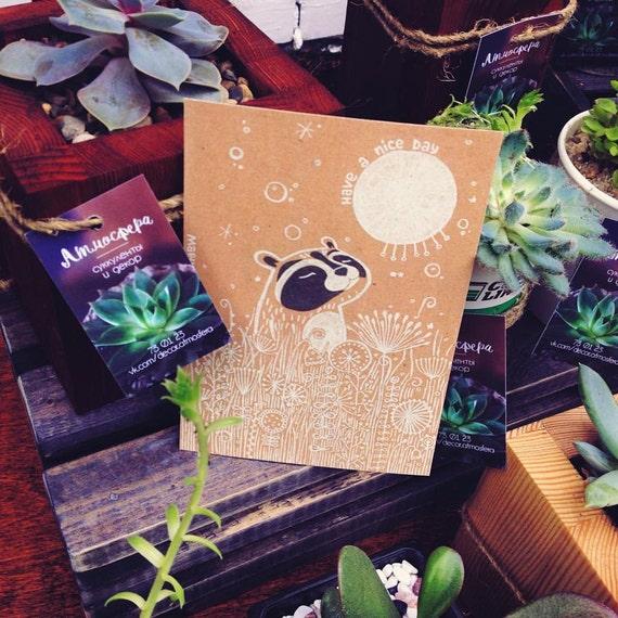Postcard Prints - Raccoon and sun