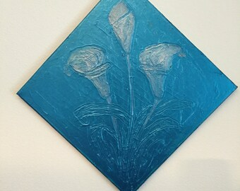 """Original abstract flower painting of calla lilies. Metallic blue teal with silver accents. 12"""" x 12"""""""