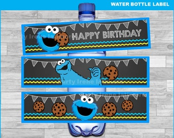 Cookie Monster water bottle labels Instant download, Cookie Monster Chalkboard water labels, Sesame Street water labels