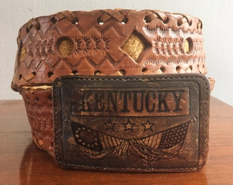Vintage Leather belt Kentucky Buckle