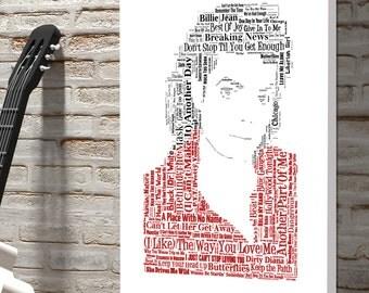 Michael Jackson Word Art Canvas