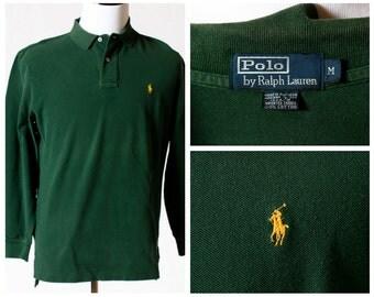 Vintage Men's Polo Shirt Ralph Lauren - 90s Retro Medium M Green Long Sleeve