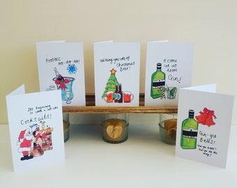 Christmas Pun Funny Alcohol Christmas Cards (Pack Of 5)