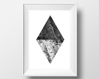 MARBLE PRINT, Diamond Art, Geometric Print, Black and White, Marble Art, Minimalist Art, Modern Print, Poster Set, Trending Now, Download