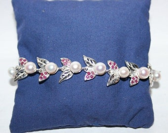 Seam bracelet of pearls and rubies in Sterling Silver 925/1000