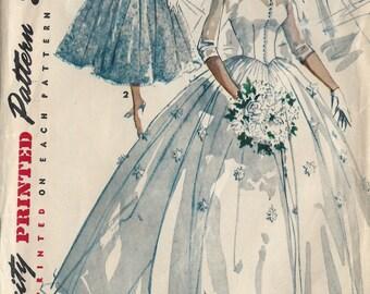 1954 Vintage Sewing Pattern B36 BRIDAL GOWN & BRIDESMAID Dress (1180) Simplicity 4697