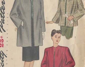 "1945 Vintage Sewing Pattern B34"" COAT (138) Simplicity 1531"