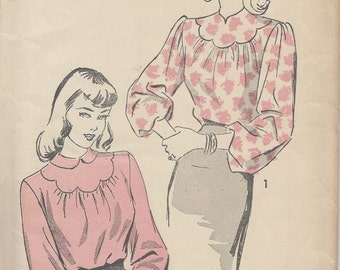 1940s Vintage Sewing Pattern B36 BLOUSE (R256) Advance 4448