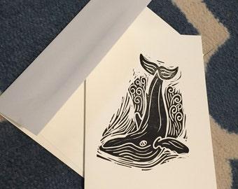 Handmade block print card with humpback whale