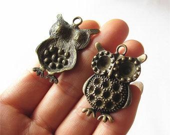 Owl Charm Pendant Antique Brass Drop Handmade Jewelry Finding 27x40mm 2 pcs