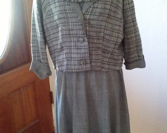 Vintage 1940s day dress and jacket ensemble