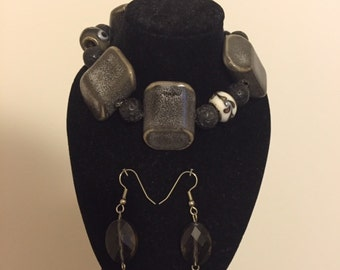 Black, gray, and white bracelet with earrings